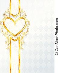 szív, rokokó, transzparens, esküvő