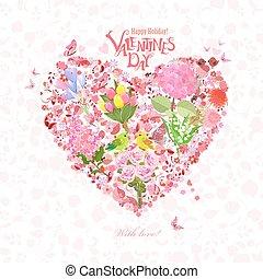 szív, romantikus, csinos, párosít, madarak, tervezés, virágos, -e