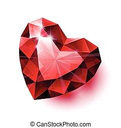 szív, rubinvörös, fehér, elszigetelt, alakít, backgro, fényes, árnyék, piros