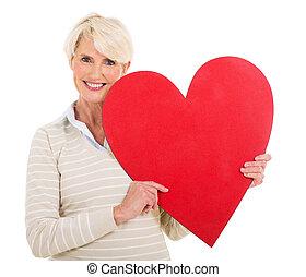 szív, senior woman, alakít
