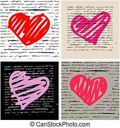 szív, set., love., ábra, háttér., vektor