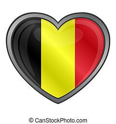 szív, sima, belgium lobogó, gombol