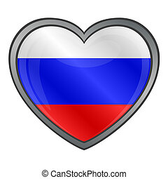szív, sima, russia lobogó, gombol