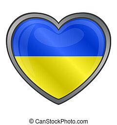szív, sima, ukraine lobogó, gombol