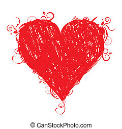 szív, skicc, alakít, tervezés, -e, piros