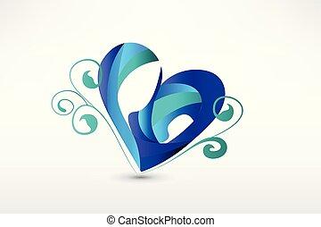szív, skicc, család, stilizált, alakít, jel