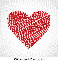 szív, skicc, tervezés, piros