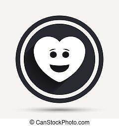 szív, smiley, jelkép., arc, mosoly, icon.