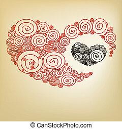 szív, spirál, piros
