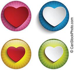 szív, színes, kedves, gombok, sima, nap