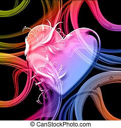 szív, színpompás