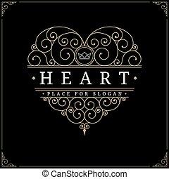szív, szüret, fényűzés, jel, sablon