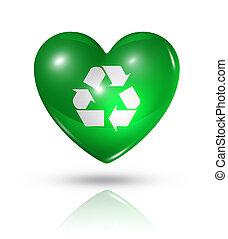 szív, szeret, újra hasznosít jelkép, lobogó, ikon