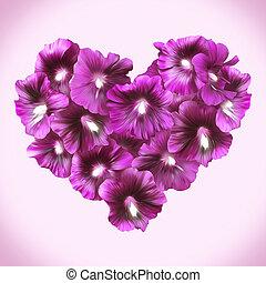 szív, szeret, day., style., virágos, papsajt, kedves, romantikus, simbol