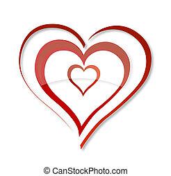 szív, szeret elpirul, elvont, örvény, jelkép, piros