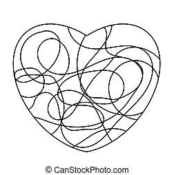 szív, szeret, elszigetelt, alakít, jel, fehér, vagy, mózesi, ikon