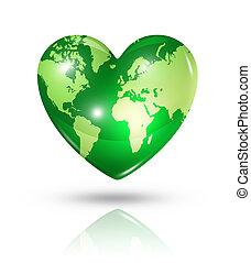 szív, szeret, földdel feltölt, ikon