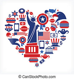 szív, szeret, ikonok, sok, -, alakít, vektor, amerika