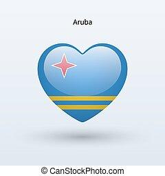 szív, szeret, jelkép., lobogó, aruba, icon.