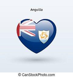 szív, szeret, jelkép., lobogó, icon., anguilla