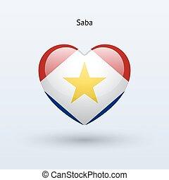 szív, szeret, jelkép., lobogó, icon., saba