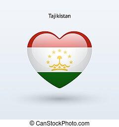 szív, szeret, jelkép., lobogó, icon., tajikistan