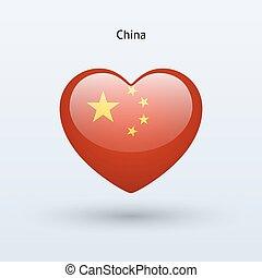 szív, szeret, jelkép., lobogó, kína, icon.