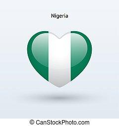 szív, szeret, jelkép., lobogó, nigéria, icon.