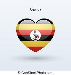 szív, szeret, jelkép., lobogó, uganda, icon.