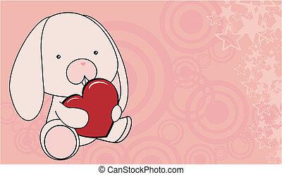 szív, szeret, karikatúra, csecsemő, backg, nyuszi