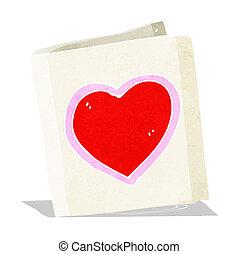 szív, szeret, karikatúra, kártya