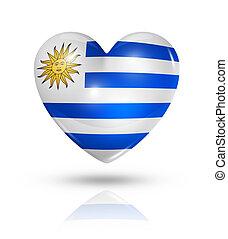 szív, szeret, lobogó, uruguay, ikon