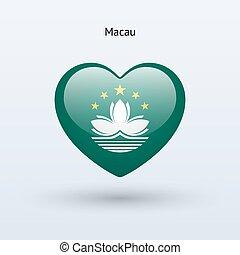 szív, szeret, macau, jelkép., lobogó, icon.