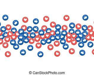 szív, szeret, marketing, társadalmi, alkalmazás, hirdetés,...