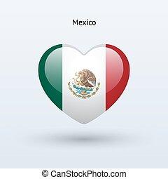szív, szeret, mexikó, jelkép., lobogó, icon.