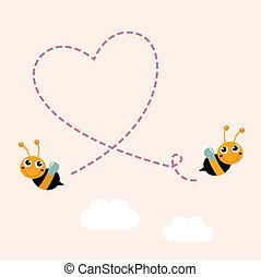 szív, szeret, nagy, repülés, levegő, méhek, gyártás