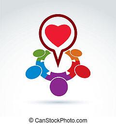 szív, szeret, orvosi, társadalom, alap, ikon, szervezet