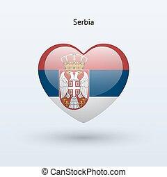 szív, szeret, szerbia, jelkép., lobogó, icon.