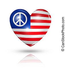 szív, szeret, usa, béke jelkép, lobogó, ikon
