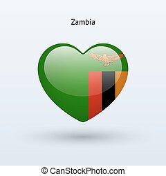 szív, szeret, zambia, jelkép., lobogó, icon.