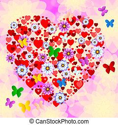 szív, természet, pillangók, alakít, őt előad, virág