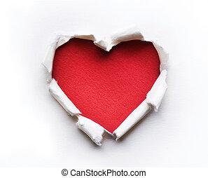 szív, tervezés, kártya, kedves