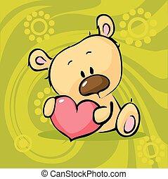 szív, valent, teddy-mackó, -, hord, csinos, befolyás