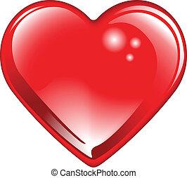 szív, valentines, elszigetelt, piros, fényes