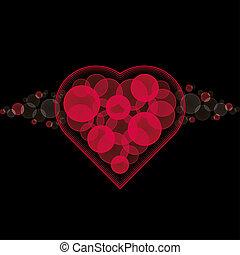 szív,  valentine's, fekete, kártya, háttér, Nap, piros