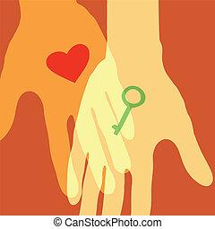 szív, valentines, gift., háttér., kulcs, nap