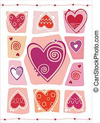 szív, valentines, tervezés, nap