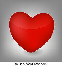 szív, vektor, ábra, ikon
