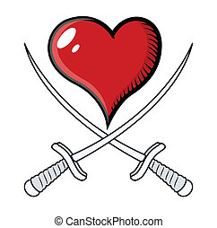 szív, vektor, keresztbe tett, kard