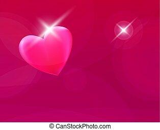 szív, vektor, romantikus, háttér, piros